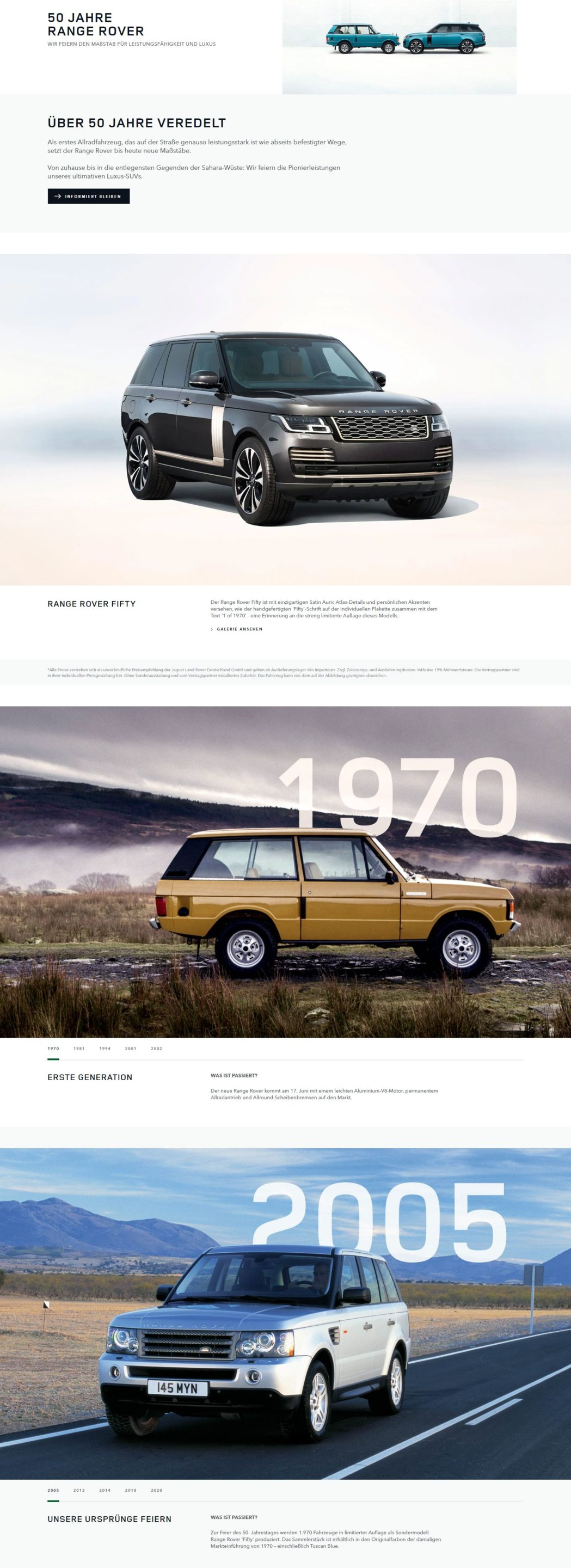 Land Rover 50 Jahre Landing Page short scaled