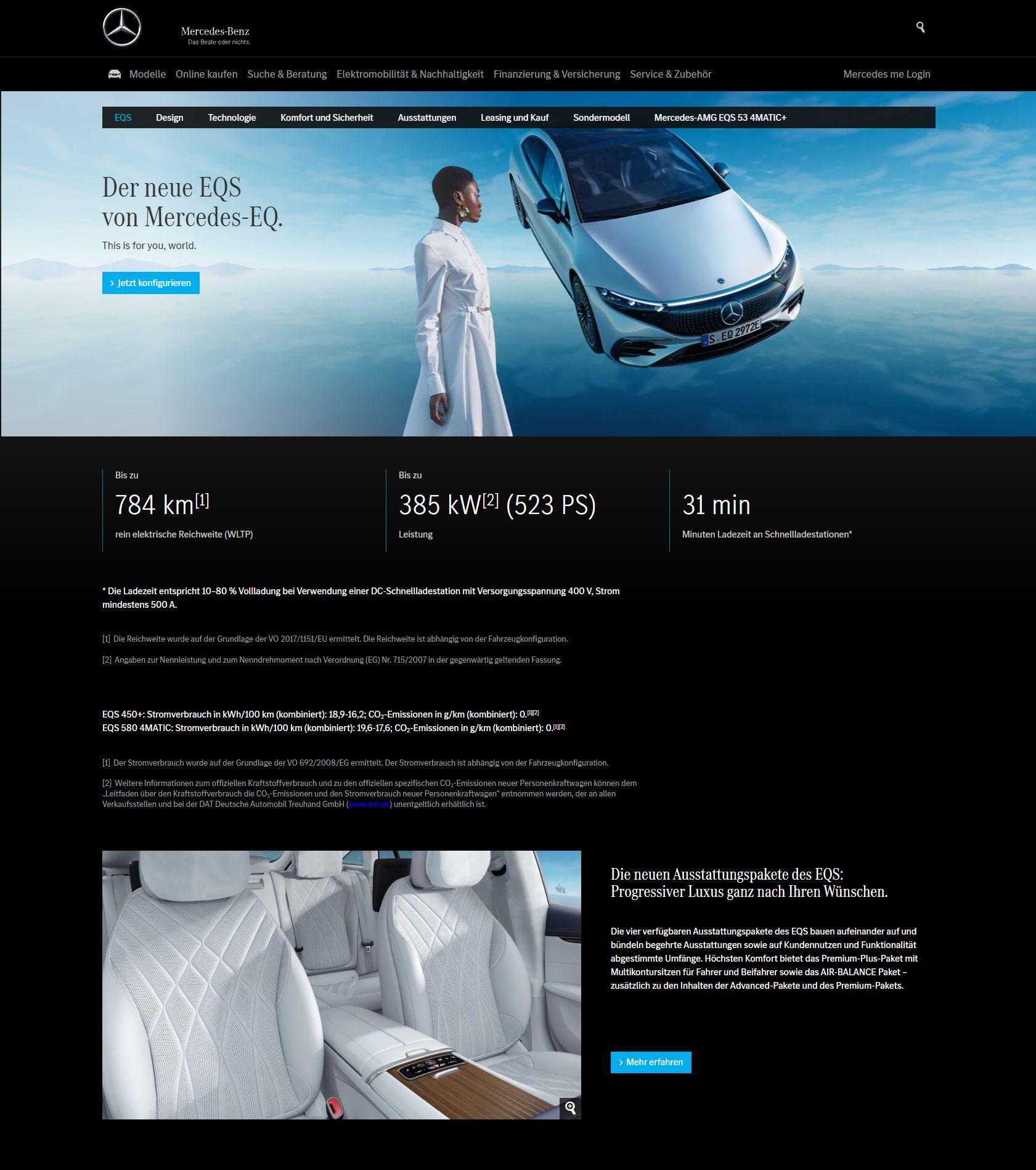 Mercedes EQS landing page short