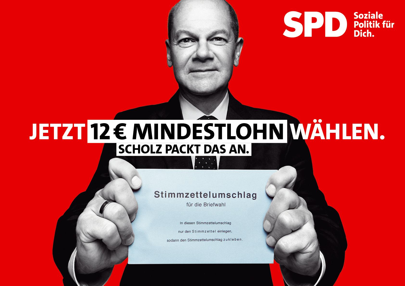 SPD Markenbekanntheit Werbekampagne 12EURO Mindestlohn 1